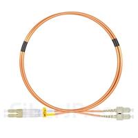 1m LC/UPC-SC/UPC デュプレックス マルチモード 光パッチケーブル(2.0mm PVC/OFNR OM1)の画像