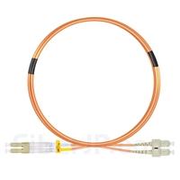 3m LC/UPC-SC/UPC デュプレックス マルチモード 光パッチケーブル(2.0mm PVC/OFNR OM1)の画像