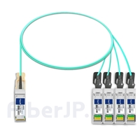 1m Fortinet FG-TRAN-QSFP-4XSFP対応互換 40G QSFP+/4x10G SFP+ブレイクアウトアクティブオプティカルケーブル(AOC)の画像