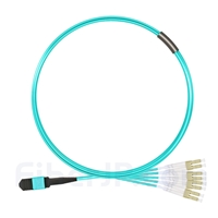 3m MPOメス-4LC/UPC デュプレックス 8芯 タイプB OM3 50/125 マルチモード ブレイクアウトケーブル(エリート、LSZH、水色)の画像