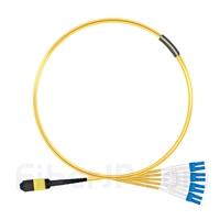 1m MPOメス-4 LC/UPC デュプレックス 8芯 タイプB OS2 9/125 シングルモード ブレイクアウトケーブル(エリート、LSZH、黄色)の画像