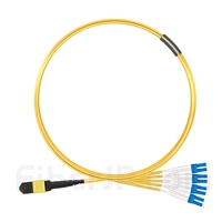 4m MTPメス-4LC/UPC デュープレックス 8芯 OS2 9/125 シングルモード ブレイクアウトケーブル(タイプA、エリート、LSZH、黄色)の画像