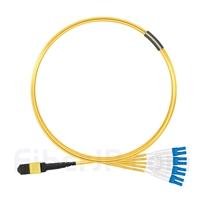 3m MTPメス-4LC/UPC デュープレックス 8芯 OS2 9/125 シングルモード ブレイクアウトケーブル(タイプA、エリート、LSZH、黄色)の画像