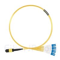 1m MTPメス-6LC/UPC デュープレックス 12芯 OS2 9/125 シングルモード ブレイクアウトケーブル(タイプA、エリート、LSZH、黄色)の画像