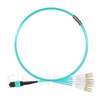 1m MTPメス-4LC/UPC デュープレックス 8芯 プレナム(OFNP) OM3 50/125 マルチモード ブレイクアウトケーブル(タイプB、エリート、水色)の画像