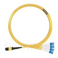10m MTPメス-4LC/UPC デュープレックス 8芯 プレナム(OFNP) OS2 9/125 シングルモード ブレイクアウトケーブル(タイプB、エリート、黄色)の画像