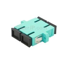 SC/UPC-SC/UPC 10G デュプレックス マルチモード プラスチック製光ファイバアダプター/嵌合スリーブ(OM3、フランジ付き、水色)の画像