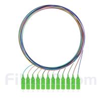 1m 12芯 SC/APC シングルモード 色分けピッグテール光ファイバケーブル(ジャケットなし、9/125)の画像
