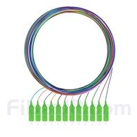 2m 12芯 SC/APC シングルモード 色分けピッグテール光ファイバケーブル(ジャケットなし、9/125)の画像