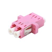 LC/UPC-LC/UPC 10G デュプレックス マルチモード SC型 プラスチック製光ファイバアダプター/嵌合スリーブ(OM4、フランジ付き、すみれ色)の画像